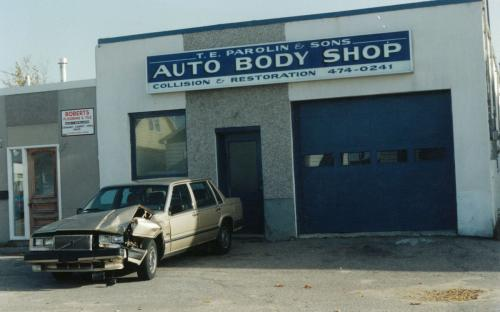 Terry Parolin briefly entered into the auto body world in the mid-90's. An expanding sales and service shop meant it was too hard to run and manage three different business locations. Cracked up Volvo 740 in front, being a Volvo it's driver likely immerged from the collision in better health then when they went in.