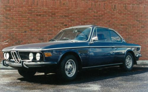 "Another album shot, this time a stunning blue 1970 BMW ""E9"" 2800CS coupe circa 1987. (should have kept that one)"