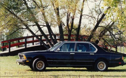 "A ""fully loaded"" 1980 BMW 733i at Thompson Park, this car doubled as Joanne Parolin's (Terry's better half) ""company car"". Lovingly referred to Joanne as ""black beauty"", not so loved when the heater didn't work in the winter time…"