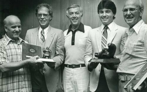 The late Earl Parolin (left) receiving a recognition award from General Motors Canada for 25 years of participation in one of their technical service programs. In 1985 at the age of 69, Earl decided to retire and help his son Terry in a new business venture. By retirement, Earl had over 40 years of experience as an automotive technician, nearly all as a General Motors master technician. He quickly acclimatized to working with European cars and never looked back.